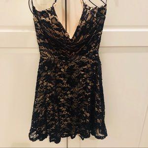 Windsor lace look elastic black dress NWOT